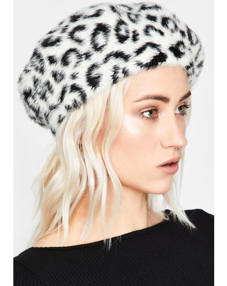 Snow Top Cat Faux Fur Beret