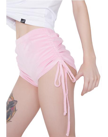 Sweet Cheeks Velour Tie Shorts