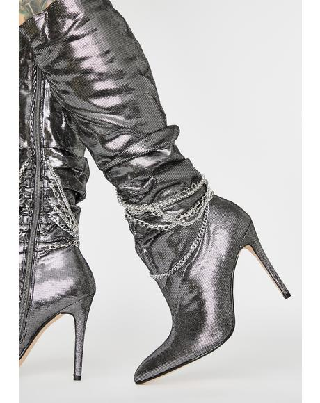 Chrome Spandau Knee High Boots