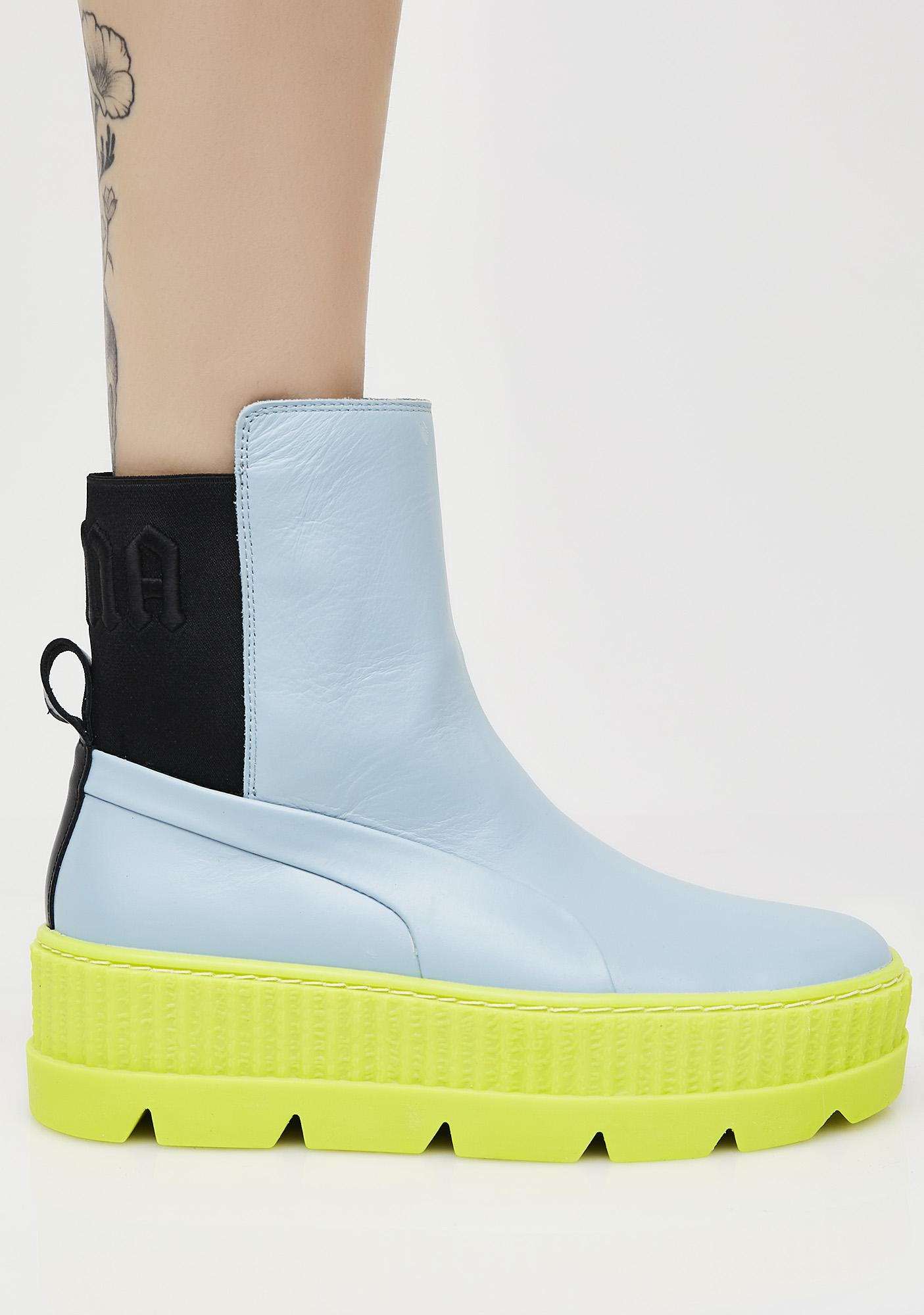 new product b7afc 3c0d3 Neon FENTY PUMA By Rihanna Chelsea Sneaker Boots