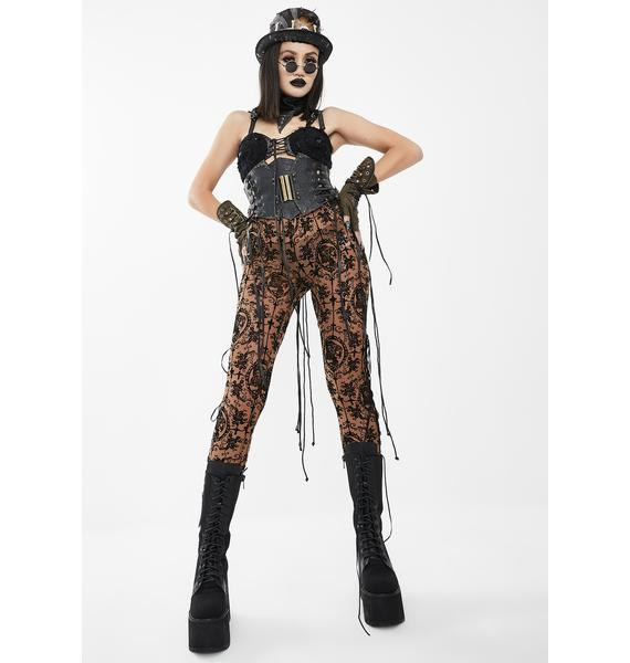 Devil Fashion Opaque Lace Skinny Pants