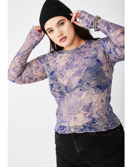 Plus Blue Flower Print Mesh Top