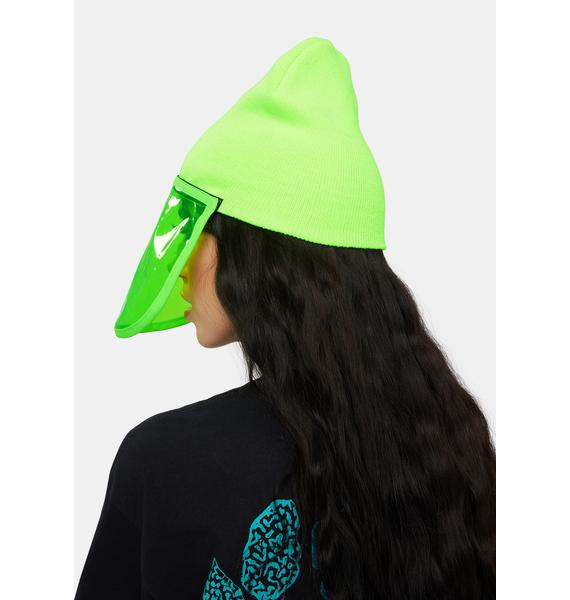 Rojas Lime Green Face Shield Beanie