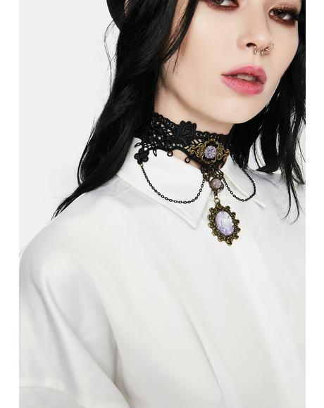 Picking Petals Gothic Rose Lace Choker