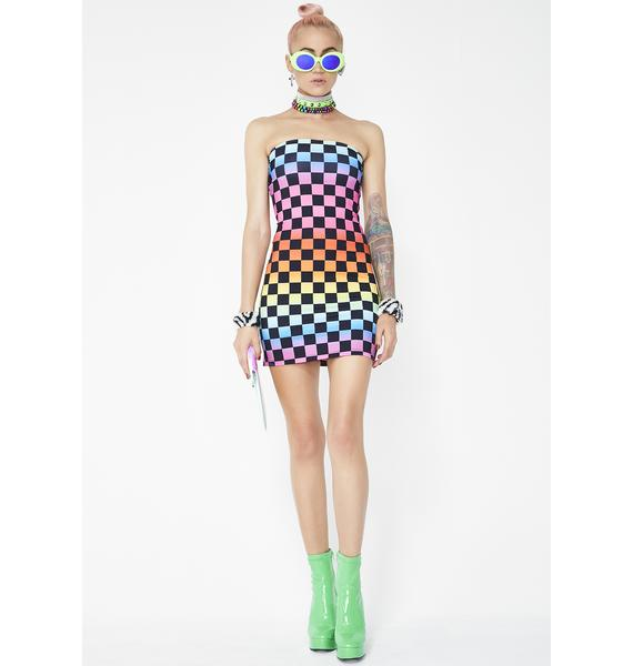 Jaded London Rainbow Checkboard Bodycon Mini Dress