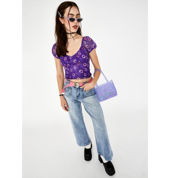 Motel Purple Daisy Glasty Crop Top