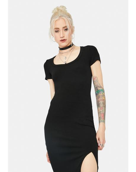 Fleeting Memories Ribbed Midi Dress