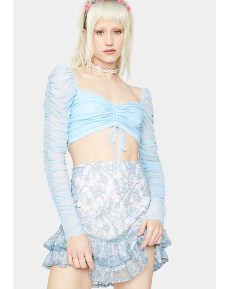 Twist Ending Ruched Long Sleeve Crop Top