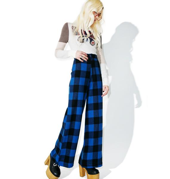 Sugarhigh + Lovestoned Plaid Woody Wide Leg