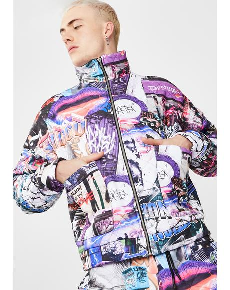 Mashup Graffiti Quilted Jacket
