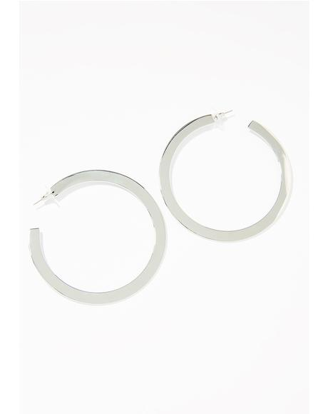 Silver Make The Rounds Hoop Earrings