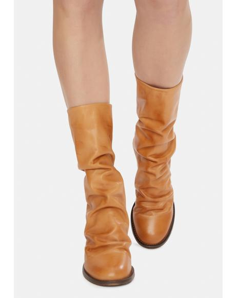 Brown Elle Block Heel Boots