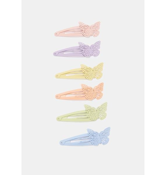 Pastel World Butterfly Hair Clips