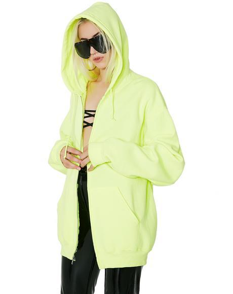 Vintage Neon Green Hoodie