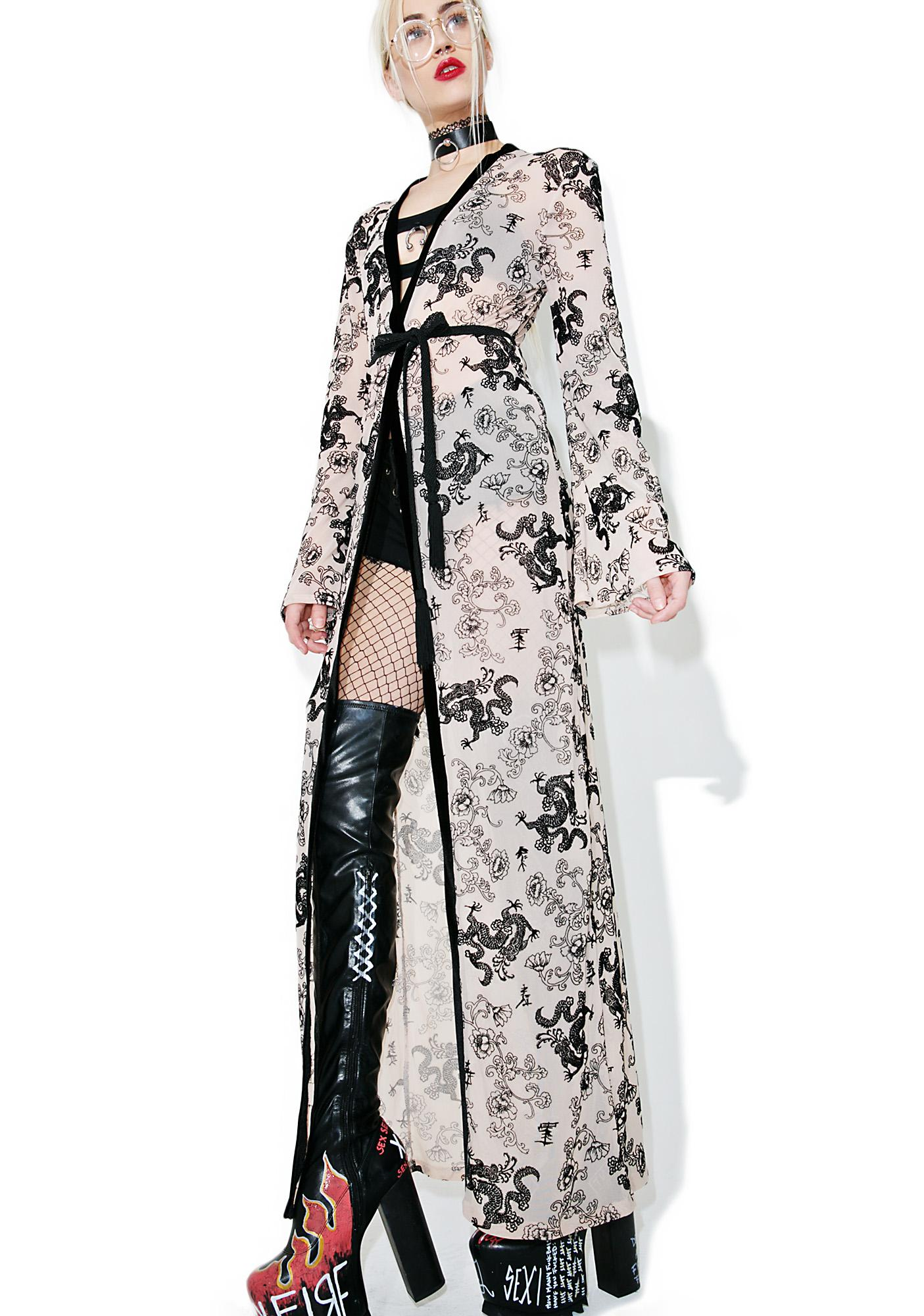 Jaded London Flock Print Mesh Maxi Kimono