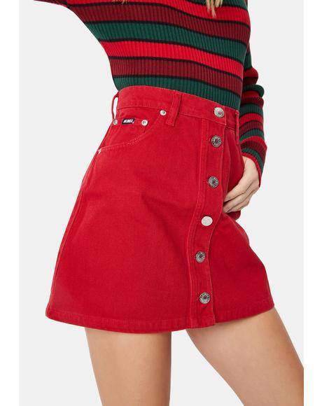 Red Denim Button Skirt