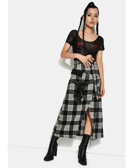 Punk Series A Shape Plaid Midi Skirt