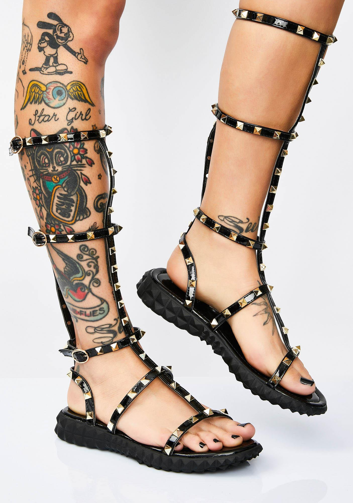 743d5415b3bb64 Gold Studded Knee High Gladiator Sandals