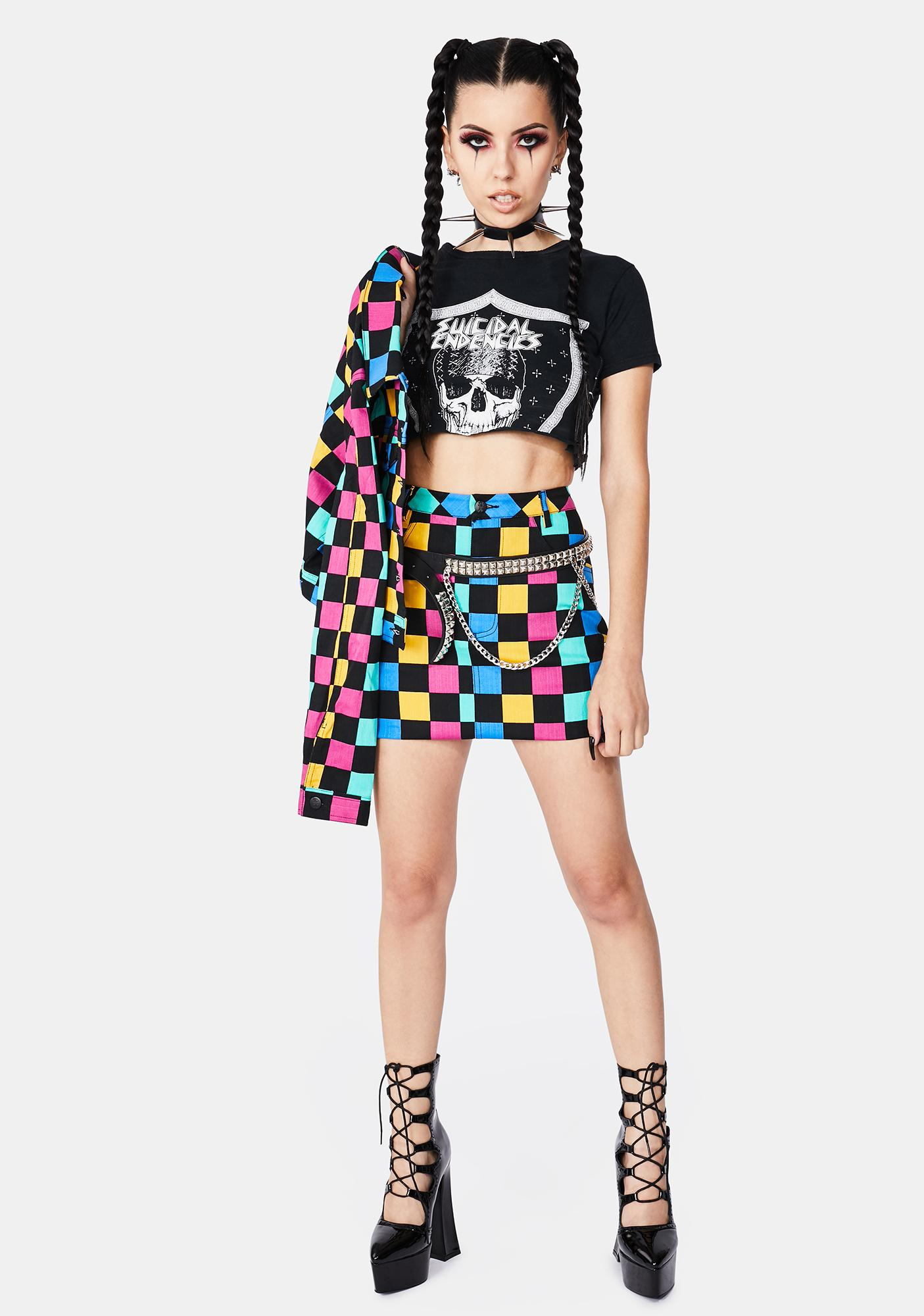 Black Friday Janis Checkered Mini Skirt