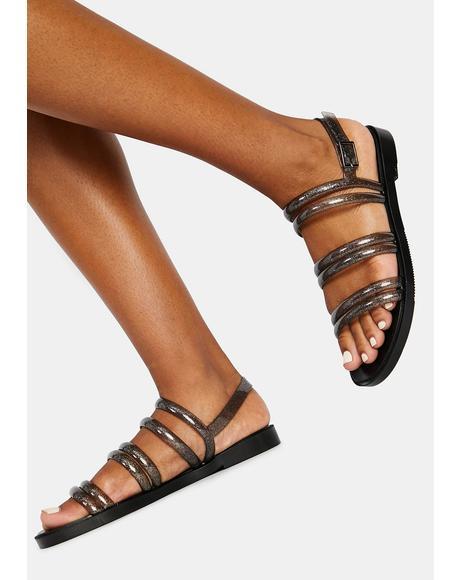 Black Glitter Rio Jelly Sandals
