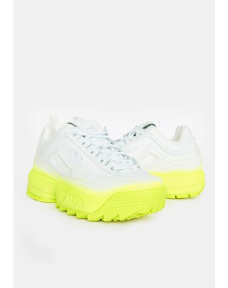 Safety Yellow Brights Disruptor 2 Fade Sneakers