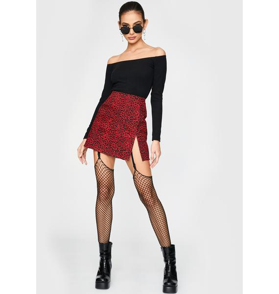 Motel Red Leopard Pelmet Mini Skirt