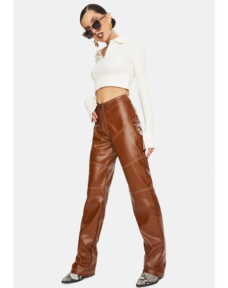 Brown Zakira Vegan Leather Pants