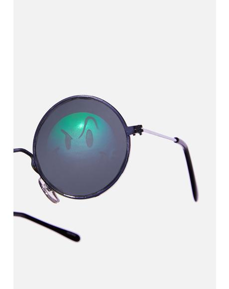 Smiley Hologram Round Sunglasses