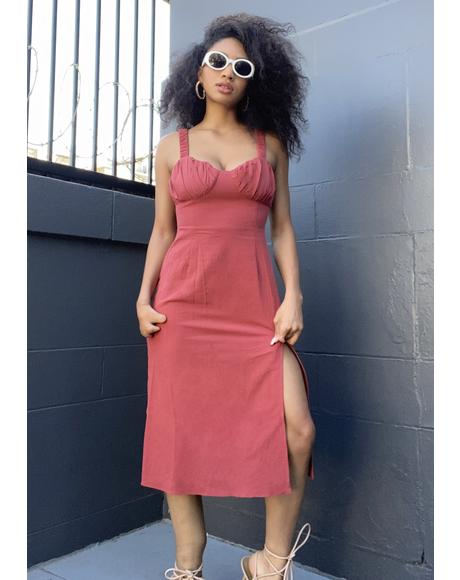 Faded Red Midi Dress