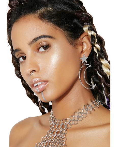 Moonlight Star Crescent Earrings