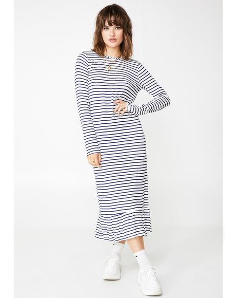 Striped Midi Shift Dress