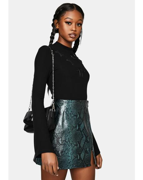 Snake Print Faux Leather Mini Skirt