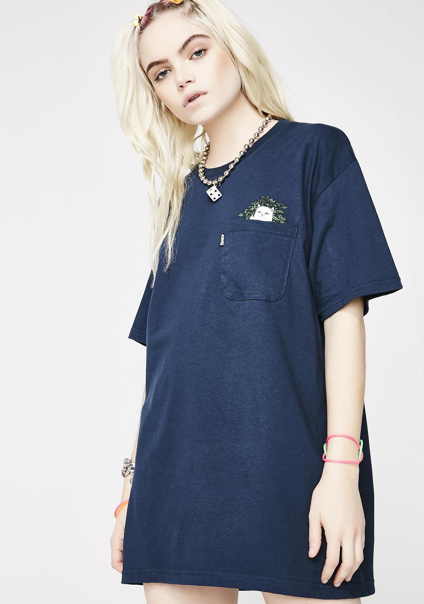 RIPNDIP Navy Cat Nip Pocket Tee