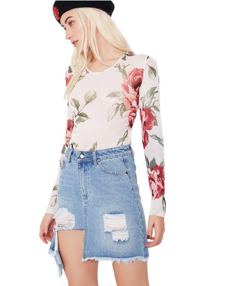 Feelin' Rosy Sheer Floral Bodysuit