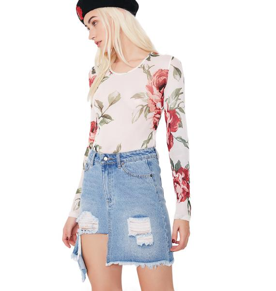 Feelin' Rosy Sheer Floral Bodysuit