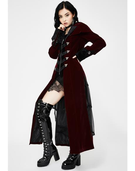 Long Red Velvet Cape Collar Coat