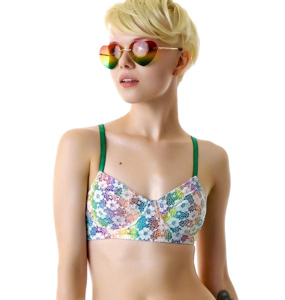 Mink Pink Daisy Rainbow Daisy Crochet Bralette
