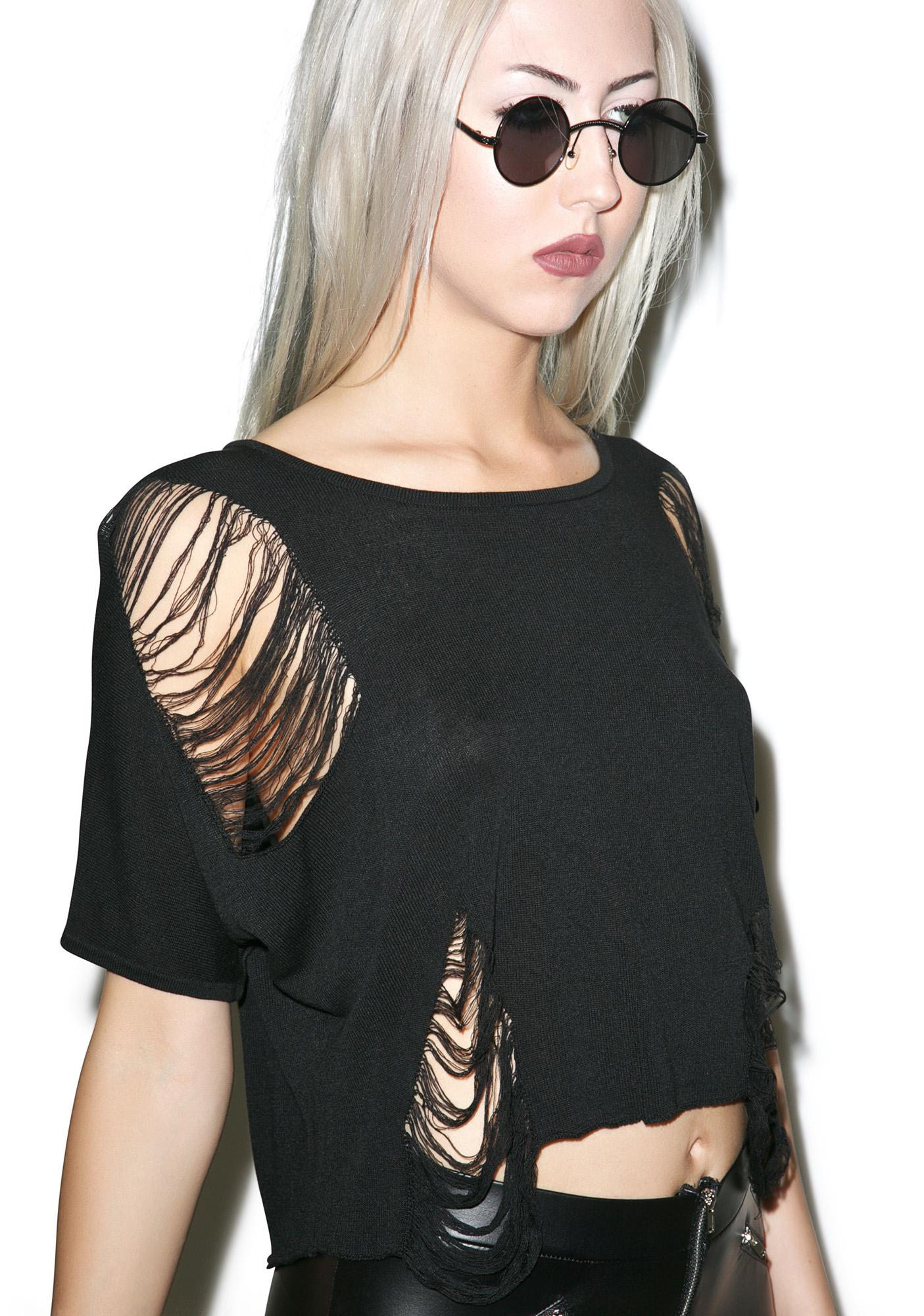 Killstar Nu-War Knit Crop Top