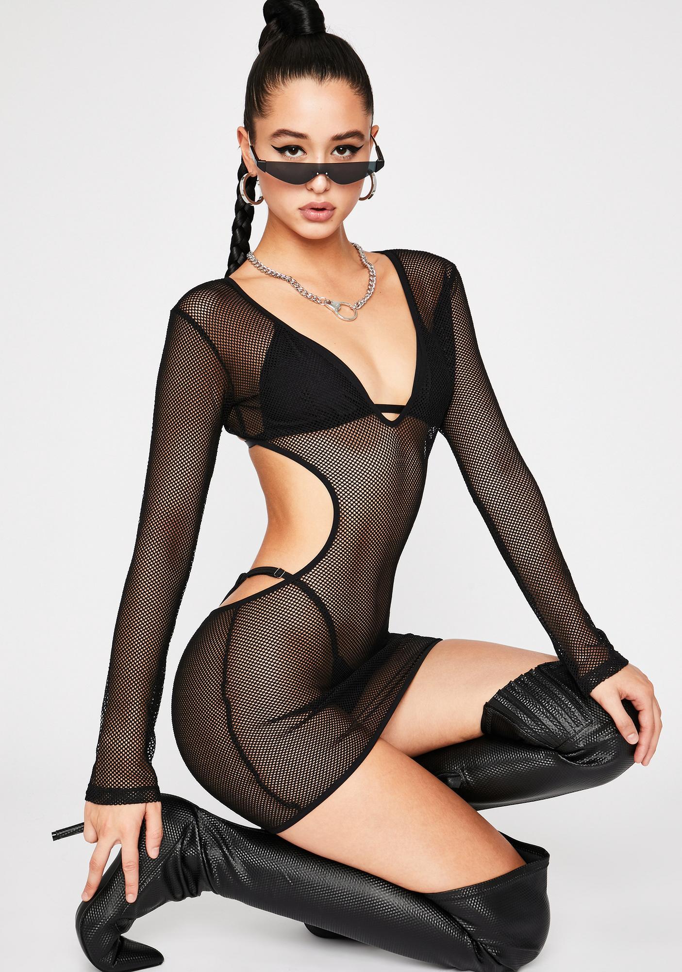 Poster Grl Show N' Tell Fishnet Dress Set