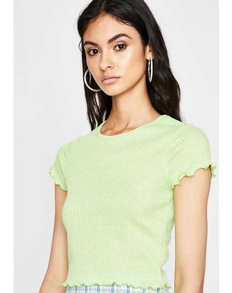 Lime Take Me Shopping Knit Tee