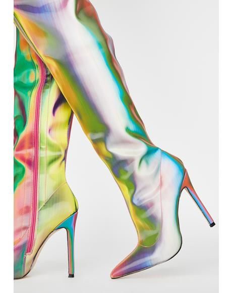 Rainbow Feather Thigh High Boots