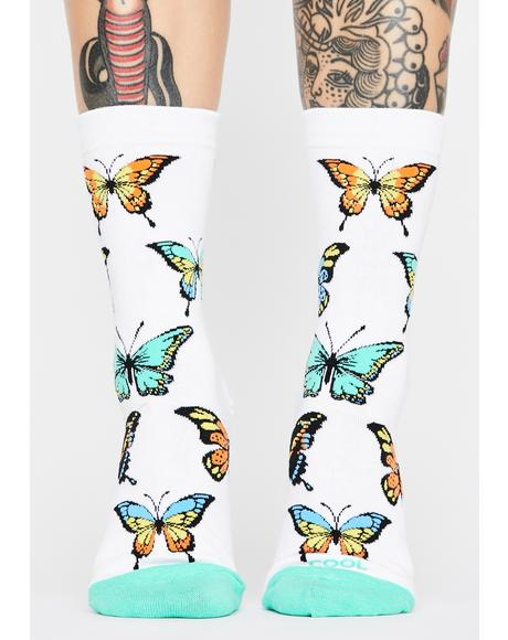 Butterflies Crew Socks