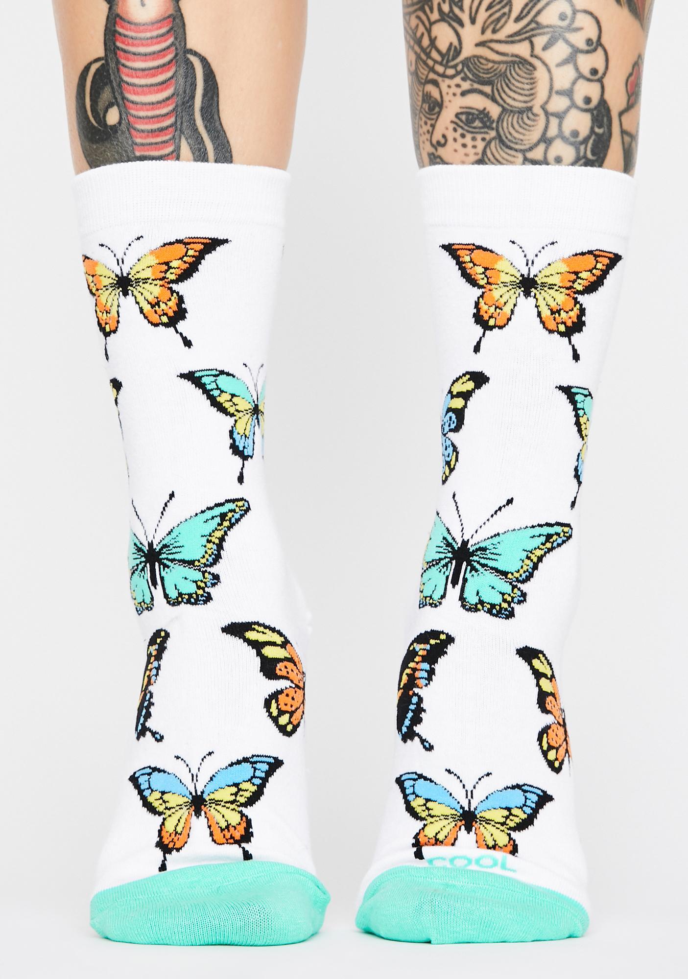 Cool Socks Butterflies Crew Socks