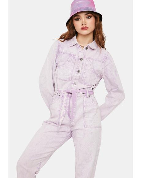 Purple Outta Limits Acid Wash Denim Jumpsuit