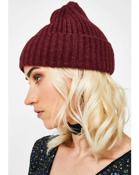 Wine Phone On Silent Ribbed Beanie