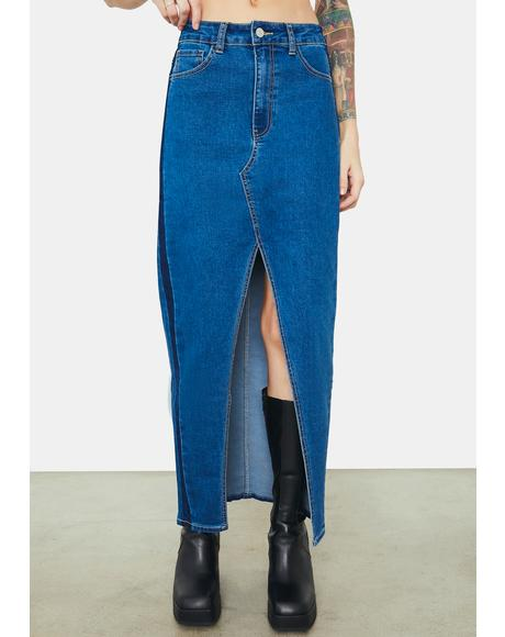 Been Reminded Front Slit Denim Maxi Skirt