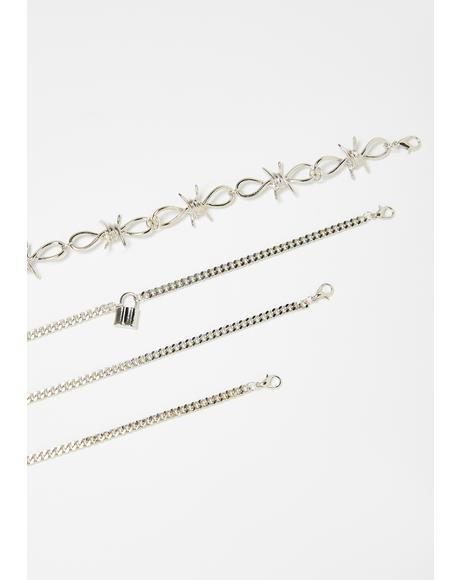 Bewildered Barbed Wire Anklet Set