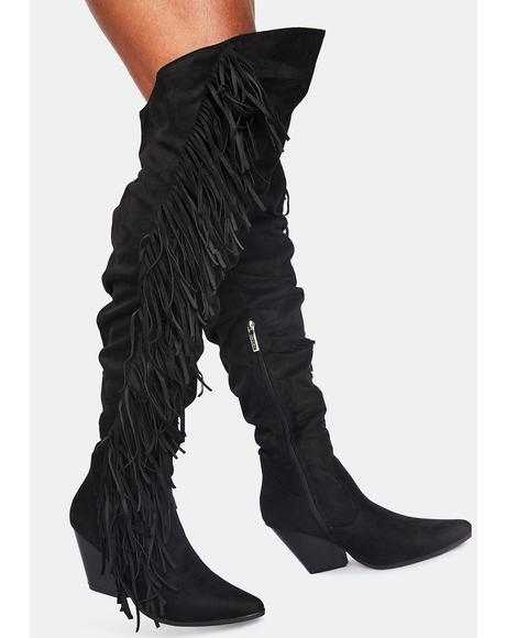 Cowgirl Talk Fringe Boots
