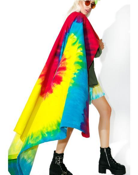 Reactive Rainbow Tie Dyed Blanket