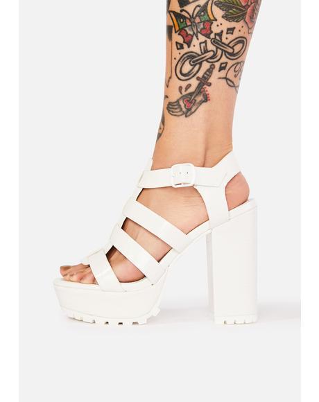 Blanc Bringing It Back Crocodile Heels